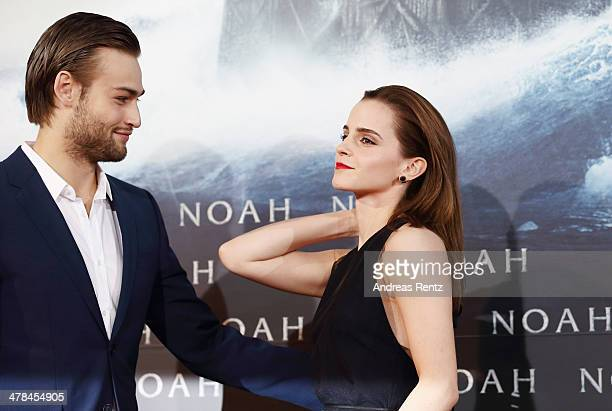 Douglas Booth and Emma Watson attend the premiere of Paramount Pictures' 'NOAH' at Zoo Palast on March 13 2014 in Berlin Germany