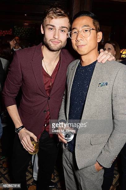 Douglas Booth and Wayne Yip attend Harvey Weinstein's BAFTA Dinner in partnership with Burberry GREY GOOSE at Little House Mayfair on February 6 2015...