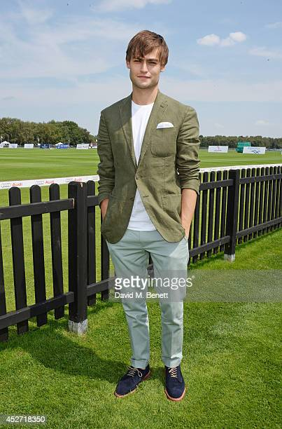 Douglas Booth attends Audi International at Guards Polo Club, near Windsor, to support England as it faces Argentina for the Coronation Cup on July...