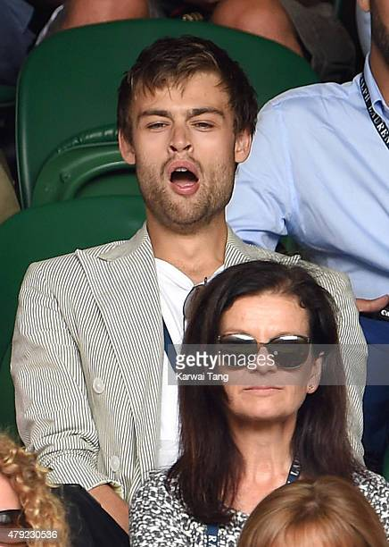 Douglas Booth attends the Robin Hasse v Andy Murray match on day four of the Wimbledon Tennis Championships at Wimbledon on July 2 2015 in London...