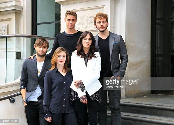 Douglas Booth Holliday Grainger Max Irons Jesica Brown Findlay and Sam Claflin attend a photocall for The Riot Club at Corinthia Hotel London on...
