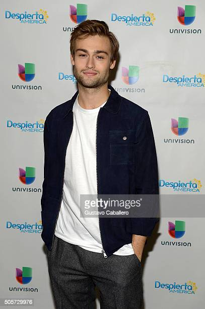 Douglas Booth is on the set of Univision's Despierta America to promote the film Pride and Prejudice and Zombies at Univision Studios on January 19...
