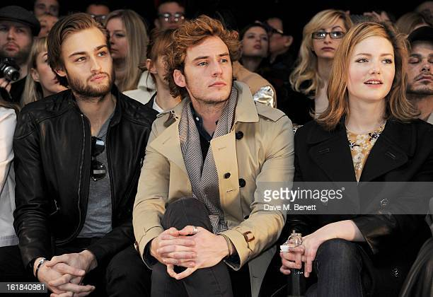 Douglas Booth Sam Claflin and Holliday Grainger attend the Mulberry Autumn Winter 2013 show during London Fashion Week at Claridge's Hotel on...