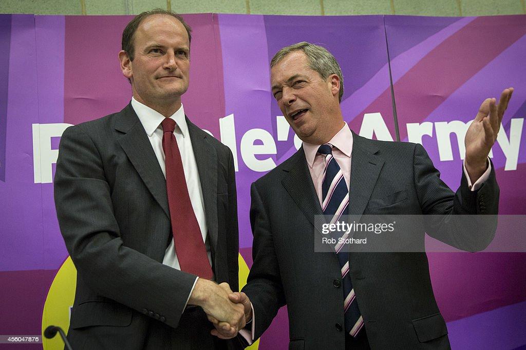 UKIP Leader Nigel Farage Attends A Public Meeting In Clacton-On-Sea