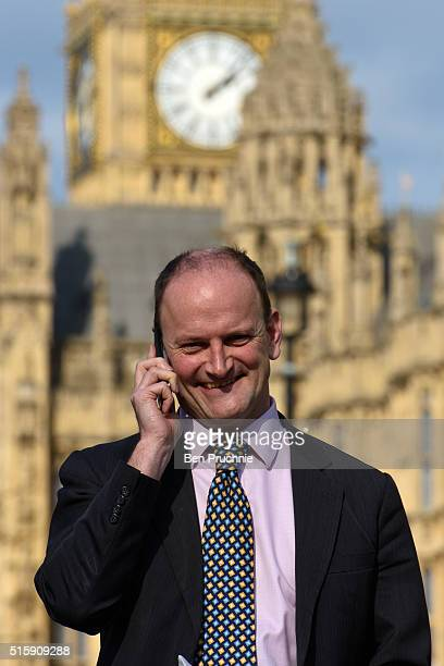 Douglas Carswell arrives in Westminister for an interview after British Chancellor of the Exchequer George Osborne reveals the 2016 budget statement...