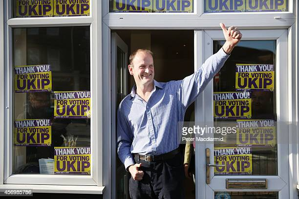 Douglas Carswell celebrates after winning the ClactononSea byelection on October 10 2014 in England Mr Carswell will become the UK Independence...