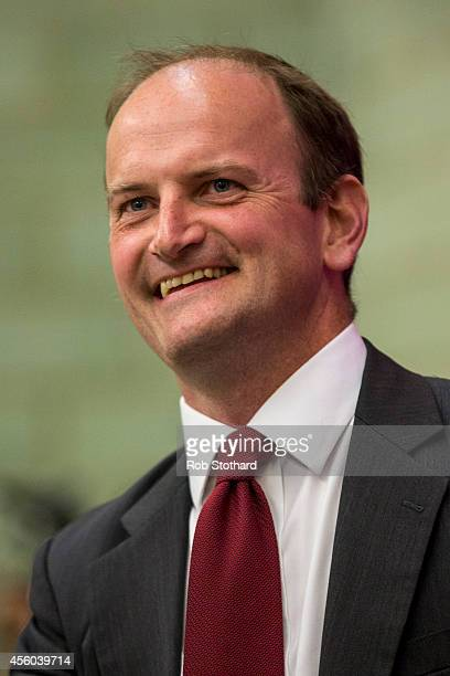 Douglas Carswell listens to a speech by Jeffrey William Titford at a public UK Independence Party meeting on September 24 2014 in ClactononSea...