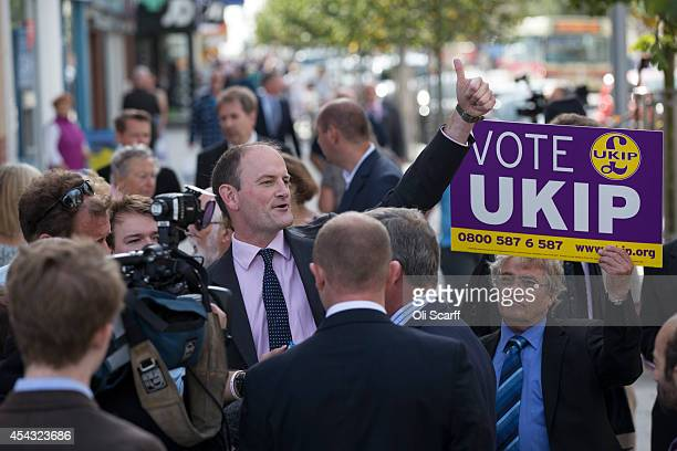 Douglas Carswell MP speaks to voters the day after he announced he is switching allegiance from the Conservative party to UKIP on August 29 2014 in...