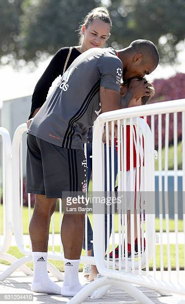 Douglas Costa meets some friends after a training session at day 6 of the Bayern Muenchen training camp at Aspire Academy on January 8 2017 in Doha...