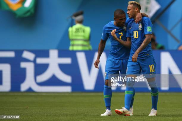 Douglas Costa Neymar of the Brazil national football team celebrates after scoring a goal during the 2018 FIFA World Cup match first stage Group E...