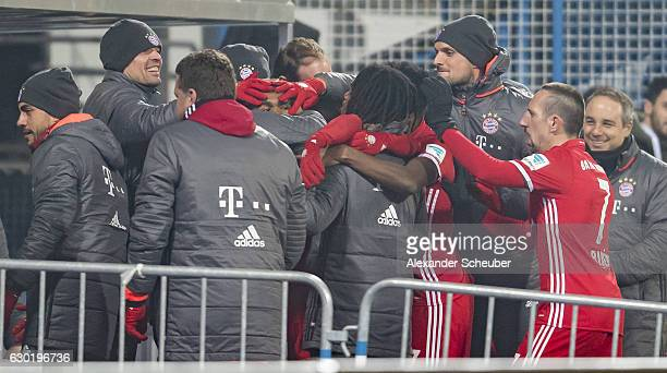 Douglas Costa of Bayern Muenchen celebrates the first goal for his team during to the Bundesliga match between SV Darmstadt 98 and Bayern Muenchen at...
