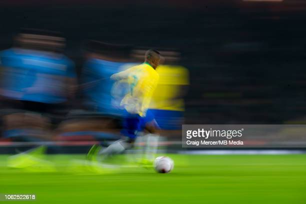 Douglas Costa of Brazil in action during the International Friendly match between Brazil and Uruguay at Emirates Stadium on November 16 2018 in...