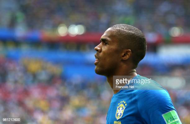 Douglas Costa of Brazil looks on during the 2018 FIFA World Cup Russia group E match between Brazil and Costa Rica at Saint Petersburg Stadium on...