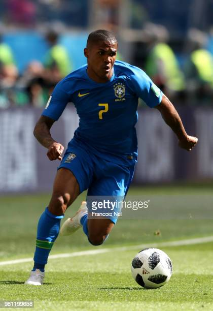 Douglas Costa of Brazil runs off the ball during the 2018 FIFA World Cup Russia group E match between Brazil and Costa Rica at Saint Petersburg...