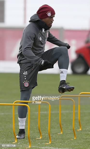 Douglas Costa of FC Bayern Muenchen warms up during a training session at the club's Saebener Strasse training ground on January 18 2017 in Munich...
