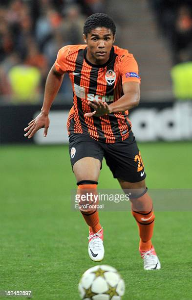 Douglas Costa of FC Shakhtar Donetsk in action during the UEFA Champions League group stage match between FC Shakhtar Donetsk and FC Nordsjaelland at...