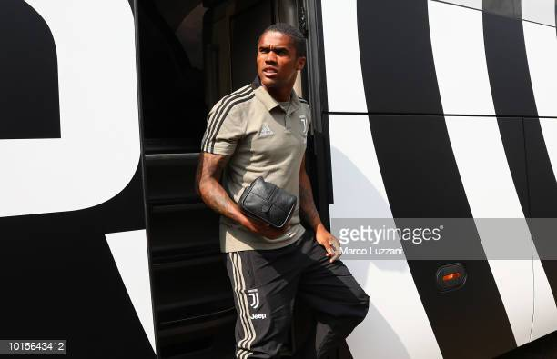 Douglas Costa of Juventus arrive at the PreSeason Friendly match between Juventus and Juventus U19 on August 12 2018 in Villar Perosa Italy