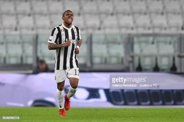 Douglas Costa of Juventus celebrates after scoring a goal during the Serie A match between Juventus and Genoa CFC on January 22 2018 in Turin Italy
