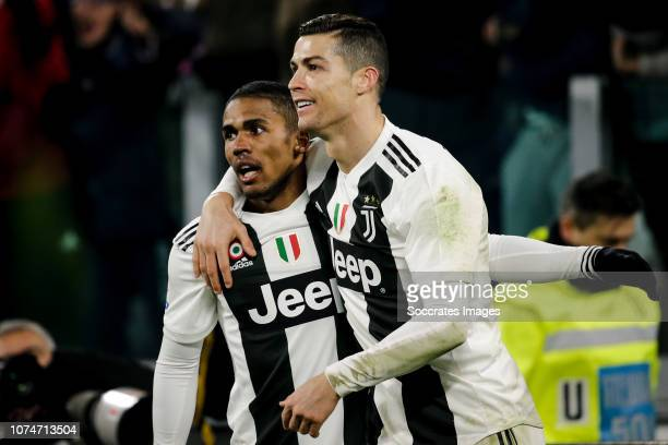 Douglas Costa of Juventus Cristiano Ronaldo of Juventus during the Italian Serie A match between Juventus v AS Roma at the Allianz Stadium on...
