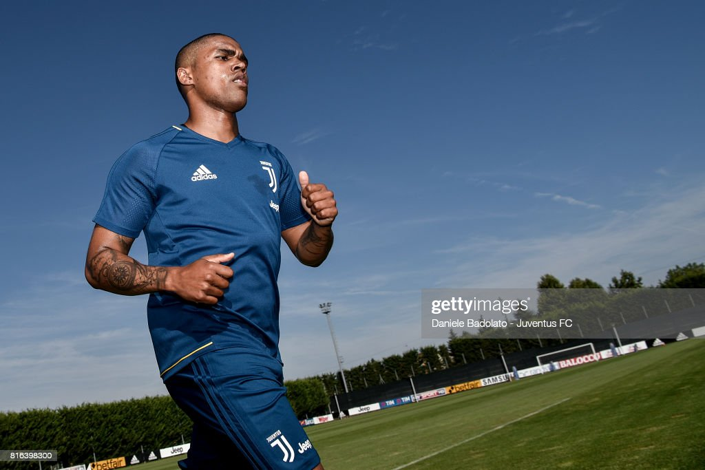 Douglas Costa of Juventus during a training session on July 17, 2017 in Vinovo, Italy.