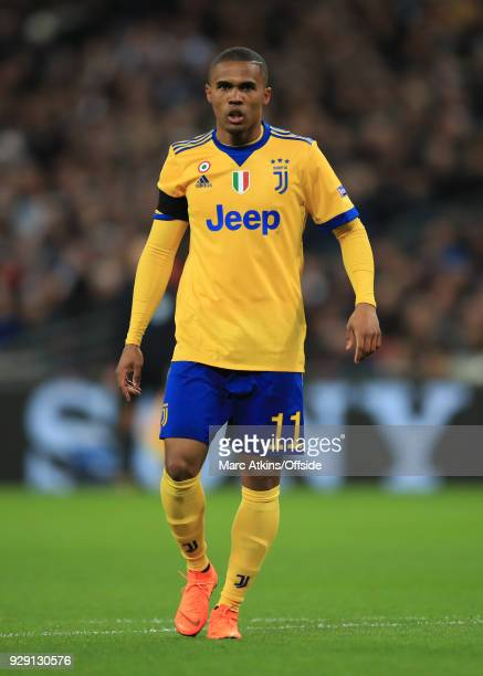 Douglas Costa of Juventus during the UEFA Champions League Round of 16 Second Leg match between Tottenham Hotspur and Juventus at Wembley Stadium on...