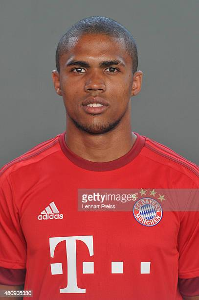 Douglas Costa poses during the team presentation of FC Bayern Muenchen at Bayern's training ground Saebener Strasse on July 16 2015 in Munich Germany