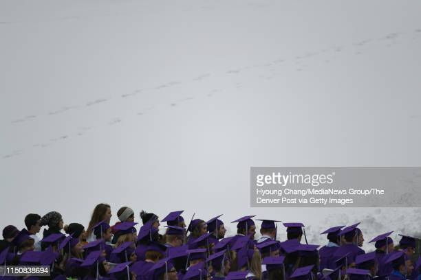 409 Douglas County High School students are celebrating their graduation at the snow covered Douglas County High School Stadium May 21 2019