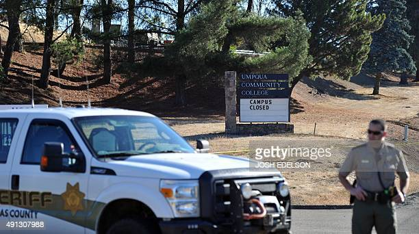 Douglas County Sheriff Joe Thornton stands watch at Umpqua Community College in Roseburg Oregon on October 4 2015 Ten people were confirmed dead...