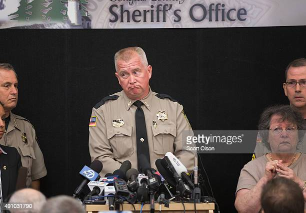Douglas County Sheriff John Hanlin speaks to the press about the mass shooting at Umpqua Community College on October 2 2015 in Roseburg Oregon...