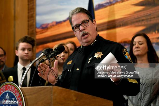 Douglas County Sheriff Tony Spurlock speaks before Governor Jared Polis signs the Extreme Risk Protection Orders legislation in the Governoru2019s...