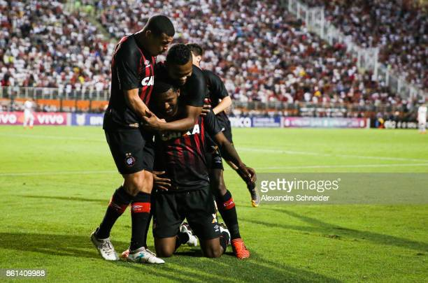 Douglas Coutinho of Atletico PR celebrats their first goal during the match between Sao Paulo v Atletico PR for the Brasileirao Series A 2017 at...