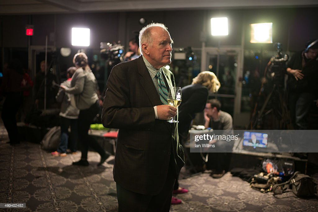 Douglas Davis, a donor and supporter of the Conservative party watches as election results come in during former Finance Minister Joe Oliver's election night reception, October 19, 2015 in Toronto, Canada. Oliver lost his seat to Liberal Marco Mendicino. Canadians went to the polls on October 19th and ousted Prime Minister Stephen Harper in favour of Justin Trudeau's Liberal party.