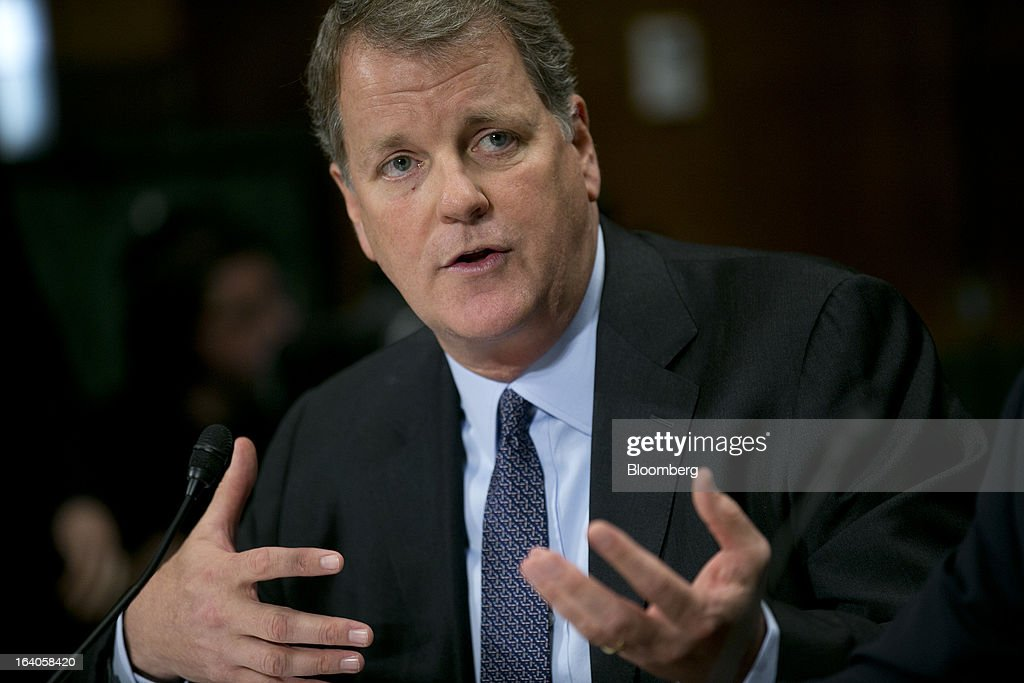 Douglas 'Doug' Parker, chairman and chief executive officer of US Airways Group Inc., speaks during a Senate Judiciary Committee hearing in Washington, D.C., U.S., on Tuesday, March 19, 2013. The proposed merger between AMR Corp.Õs American Airlines and US Airways would increase fares, reduce service to smaller communities and make it more difficult for low-cost carriers to compete, two consumer advocates said at a Senate hearing. Photographer: Andrew Harrer/Bloomberg via Getty Images