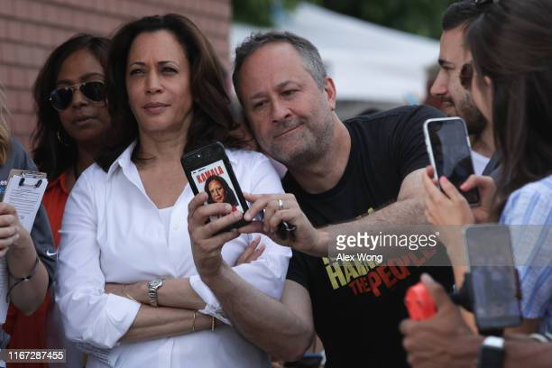 Douglas Emhoff, husband of Democratic presidential candidate U.S. Sen. Kamala Harris , takes a selfie prior to her delivering a campaign speech at...