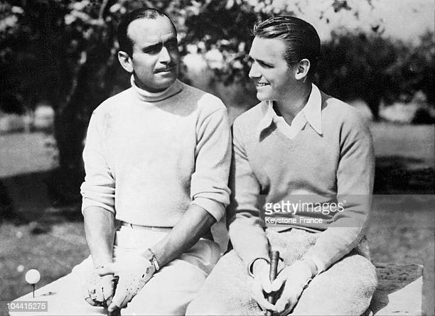 Douglas FAIRBANKS and Douglas FAIRBANKS junior after a golf party in Country-club of Hollywood in 1931.