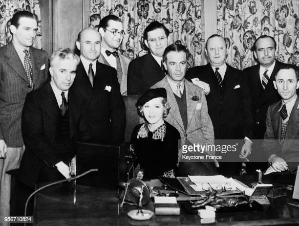 Douglas Fairbanks Jr, Sam Goldwin, Jack Wihtney, David O Selznick, Lesse Lasky, Douglas Fairbanks Sr, Charles Chaplin, Mary Pickford, Walter Wanger...