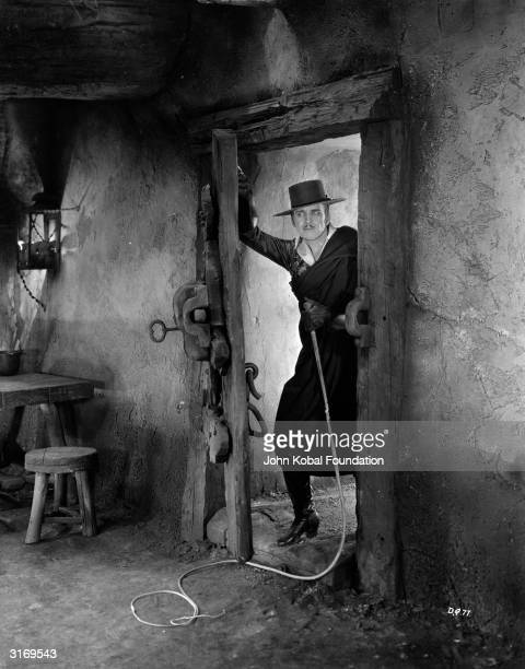 Douglas Fairbanks Snr in a scene from 'Don Q, Son Of Zorro', directed by Donald Crisp. Fairbanks plays Don Cesar, who becomes the whip-wielding...