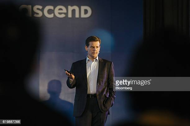 Douglas Feagin head of international operations at Zhejiang Ant Small Micro Financial Services Group Co speaks during a news conference in Hong Kong...