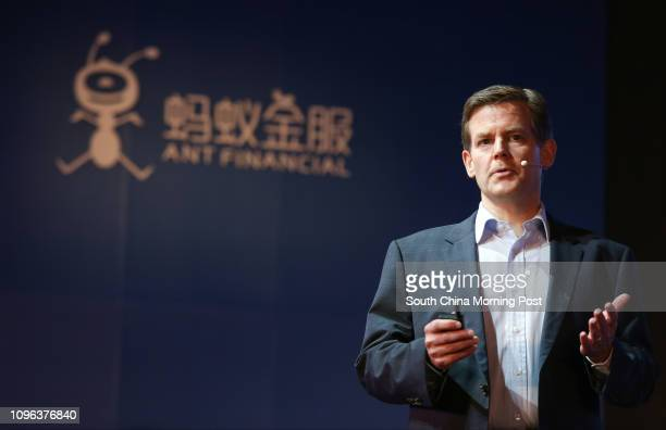 Douglas Feagin senior vice president Head of International Operations Ant Financial speaks during Ant Financial Services press conference in Central...