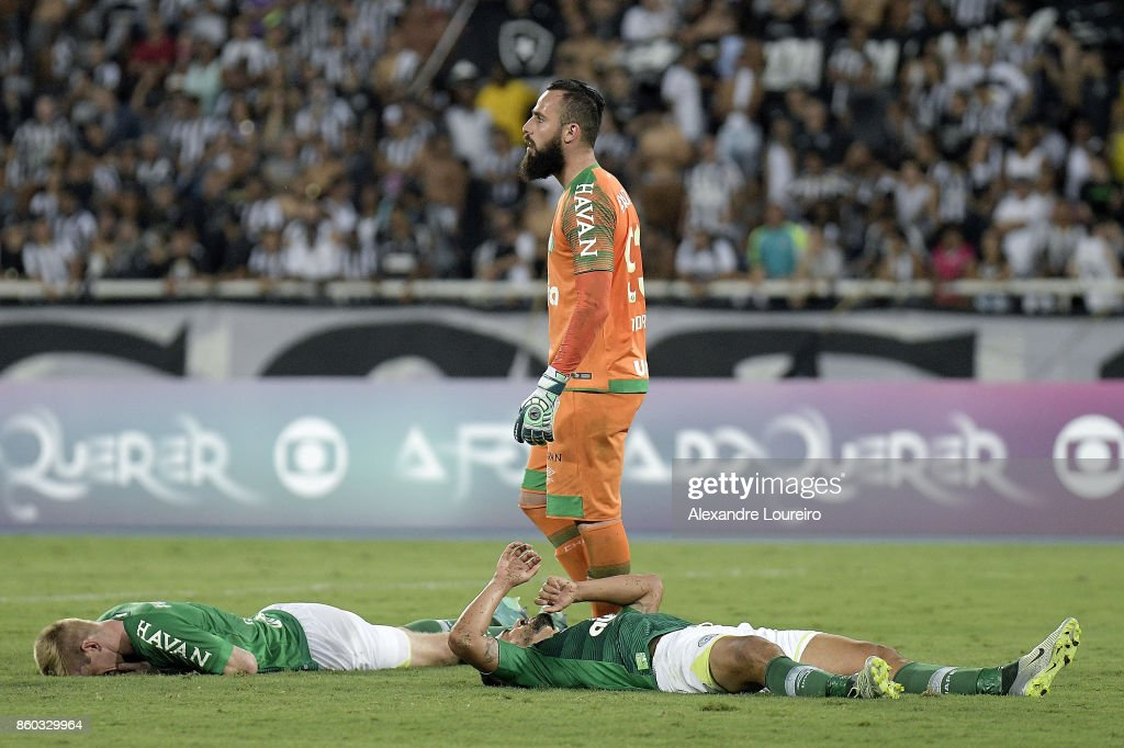 Douglas Grolli; Jandrei and Canteros of Chapecoense reacts during the match between Botafogo and Chapecoense as part of Brasileirao Series A 2017 at Engenhao Stadium on October 11, 2017 in Rio de Janeiro, Brazil.