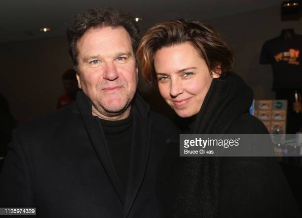 Douglas Hodge and Amanda Miller pose at the opening night of The Roundabout Theatre Company's production of Stephen Sondheim's musical 'Merrily We...