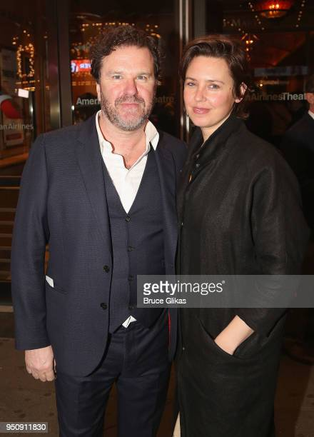 Douglas Hodge and Amanda Miller pose at the opening night of Tom Stoppard's play Travesties on Broadway at The American Airlines Theatre on April 24...