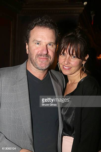 Douglas Hodge and girlfriend Amanda Miller pose at The Opening Night of The New Irving Berlin Musical Holiday Inn on Broadway at Studio 54 on October...