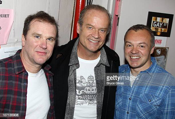 Douglas Hodge Kelsey Grammer and Graham Norton pose backstage at La Cage Aux Folles on Broadway at The Longacre Theatre on November 24 2010 in New...