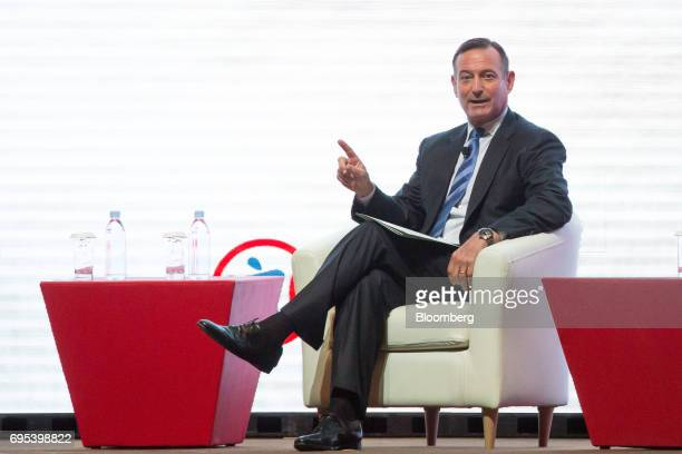Douglas Hodge managing director and senior advisor of Pacific Investment Management Co speaks during the UBS AG Celebrating 20th Anniversary of Hong...