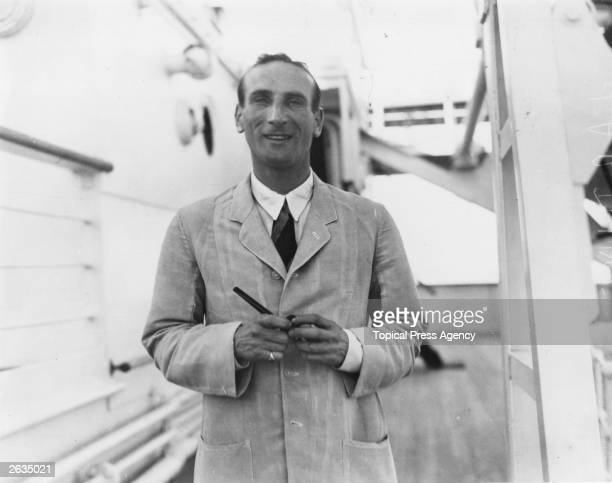 Douglas Jardine Captain of the MCC stands on the deck of the Orient Liner Orontes, bound for Australia. Original Publication: People Disc - HH0216