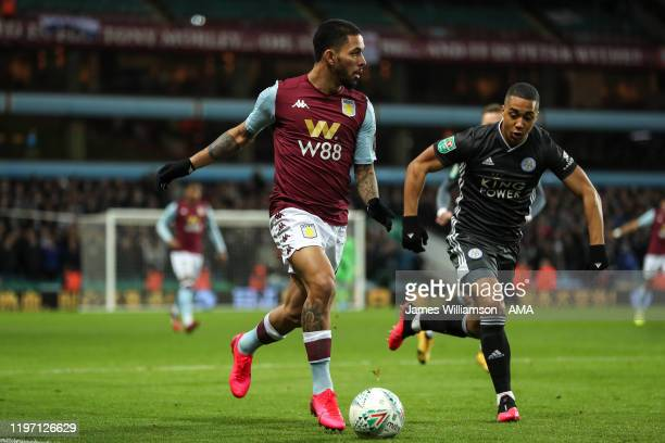 Douglas Luiz of Aston Villa and Youri Tielemans of Leicester City during the Carabao Cup Semi Final match between Aston Villa and Leicester City at...