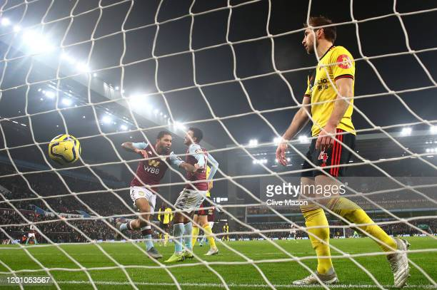Douglas Luiz of Aston Villa celebrates after scoring his team's first goal during the Premier League match between Aston Villa and Watford FC at...