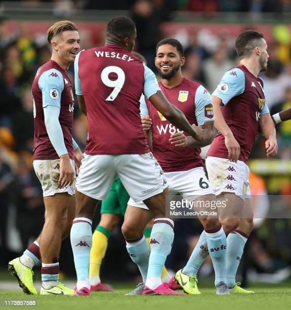 Douglas Luiz of Aston Villa celebrates the fifth goal . During the Premier League match between Norwich City and Aston Villa at Carrow Road on...