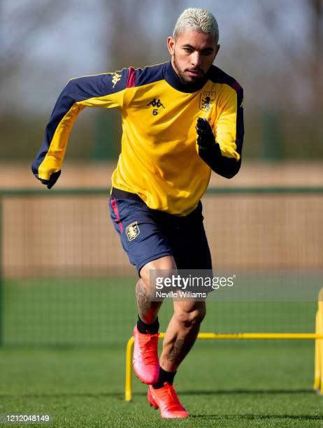 Douglas Luiz of Aston Villa in action during a training session at Bodymoor Heath training ground on March 12 2020 in Birmingham England